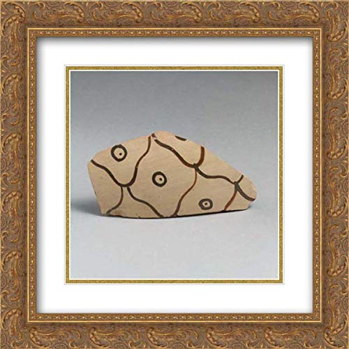Mycenaean Culture - 20x20 Gold Ornate Frame and Double Matted Museum Art Print - Terracotta Vessel Fragment with net Pattern and dots Within Circles