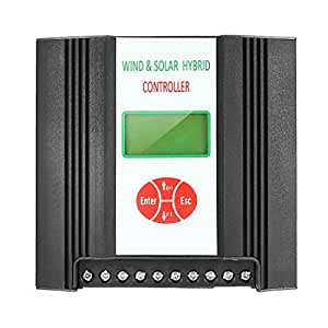 uxcell (300W Wind + 150W Solar) LCD Wind/Solar Power Hybrid Street Light Controller 12V Automatic Identification Battery Controller
