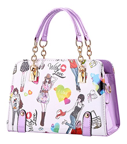 Purple Zipper Handbag Pattern MissFox Design Ladies Bag Pretty Crossbody Girls PqczA