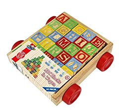 Wooden Alphabet Blocks, Best Wagon ABC Wooden Block Letters Come in a Pull Wagon for Easy Storage and Movement, Most Entertaining Wooden Toy for Toddlers, 30 Pieces Set.