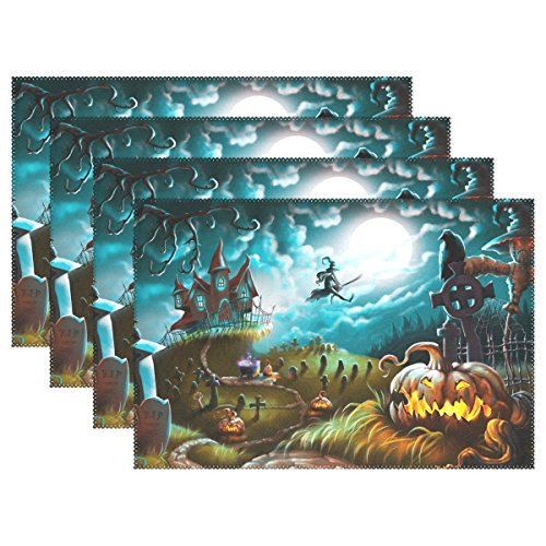 Naanle Halloween Placemats Set of 6, Witch Castle Moon Pumpkin Non Slip Heat-Resistant Washable Table Place Mats for Kitchen Dining Table Home Decoration, 12