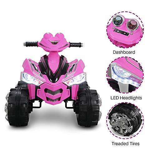 Kidzone 12V Kids Battery Powered Electric 4-Wheeler Quad Toddler Ride-On ATV w/ 2 Speeds LED Lights Treaded Tires, Pink