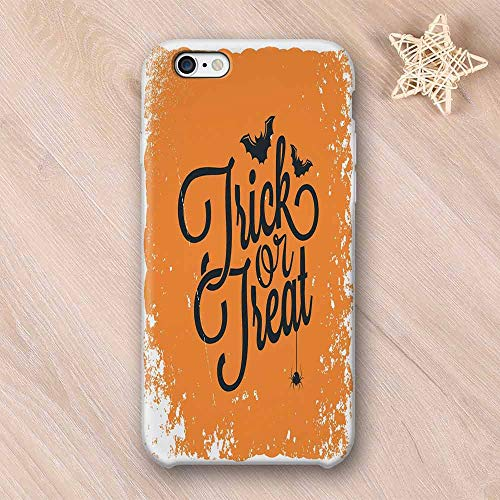 Vintage Halloween Hard Shell Compatible with iPhone Case,Trick or Treat Halloween Theme Celebration Image Bats Tainted Backdrop Decorative Compatible with iPhone 7/8,iPhone 6/6s -