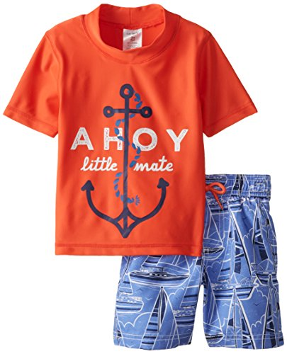 Carter's Little Boys' Toddler Ahoy Rash Guard Set, Orange, 2T