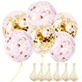 Onepine 12inch Gold or Rose Gold Confetti Balloons 20Pcs Premium Transparent Latex Balloons for Wedding, Party Decorations, Random Color