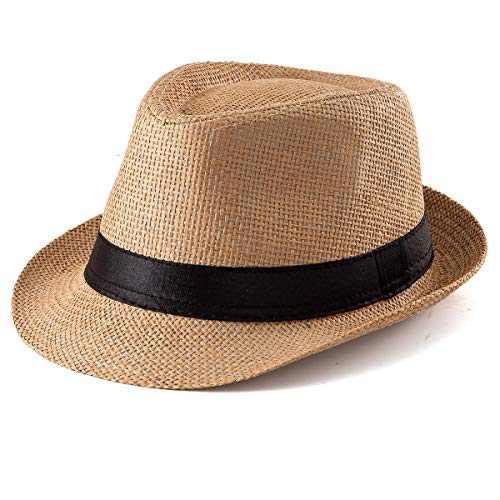 - Straw Hat for Women Men - Summer Khaki Fedora Hat with Band Sun Hat for Vacation