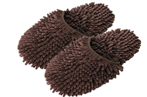 Moolecole Chenille Floor Dust Mop Shoes Mopping Slippers Removable Cleaning Tool
