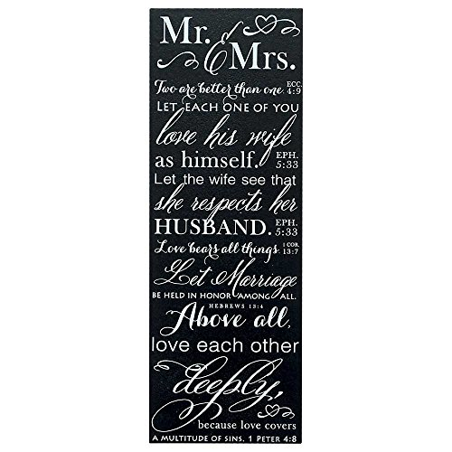 Mr and Mrs Love Verses Black and White 5 x 14 Wood Wall Art Sign Plaque