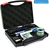 YOUSHARES Adjustable Temperature Soldering Iron Kit with Tool Box 7in1, included 60W 110V Soldering Gun Pen ON/OFF Switch, 5 Soldering Tips, Solder Sucker, Solder Wire, Tweezer, Cleaning Sponge Stand