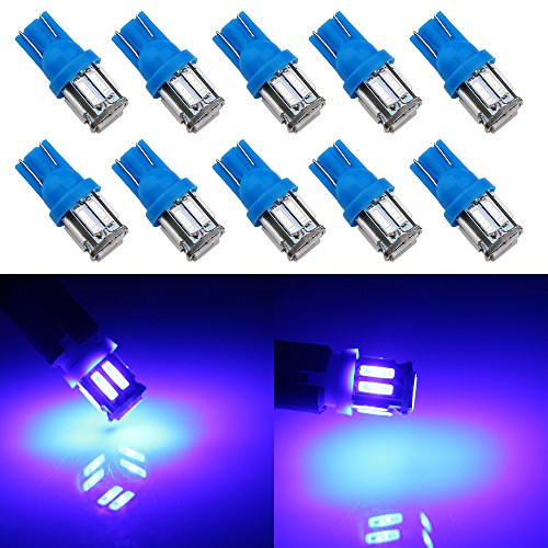 - Grandview 350 Lumens Blue T10 194 168 921 W5W 7014 10-SMD LED Interior Lights Bulb Car Replacement Lights Truck License Plate Front Rear Sidemarker Light Dome Map LED Bulbs 12V DC 10-Pack