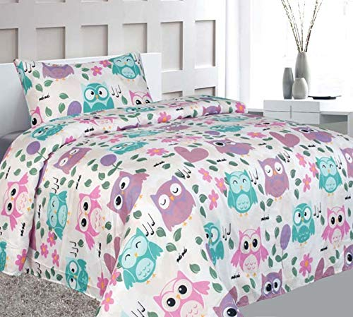Elegant Home Cute Beautiful Girls Pink White Blue Purple Floral Owl with Hearts Design Fun 3 Piece Printed Twin Size Sheet Set with Pillowcase Flat Fitted Sheet for Girls/Kids # Owl (Twin Size) by Elegant Home
