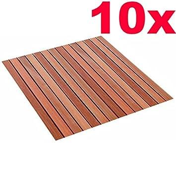 Rog Garden Line 10 Stück Magnum Holzfliesen Bangkirai 100 X 100 Cm