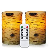 Bingolife Real Wax Birch Bark Effect Flameless LED Candles 3.25'' x 5'' with Remote Control & Timer - Set of 2