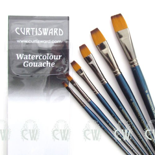 Curtisward Mastertouch Aquamarine Flat Artists Watercolour 6 Brush Set Pro Arte MTAFLAT