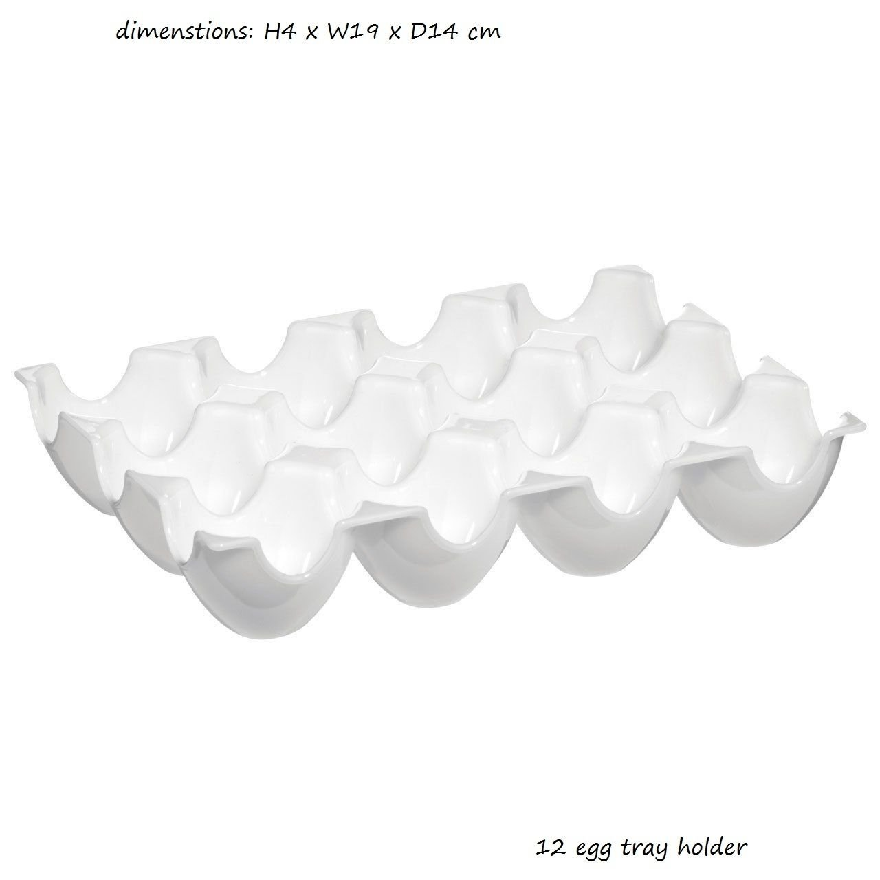 12 EGG WHITE PLASTIC STORAGE EGG HOLDER TRAY - PLASTIC By Emeia mjaonline