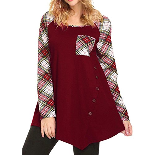 Goddessvan Plus Size Tops, Women Long Sleeve Loose Shirt Button Trim Round Neck Tunic Blouse T-Shirt (L, Red #) (Trim Print Tunic)