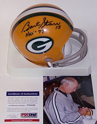 Bart Starr Autographed Hand Signed Green Bay Packers 2-Bar Throwback Mini Football Helmet - with HOF 77 Inscription - PSA/DNA