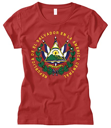 Salvador El Ladies (Cybertela Women's EL Salvador Coat Of Arms Fitted T-Shirt (Red, Large))
