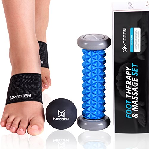 Plantar Fasciitis Arch Support & Foot Massager Roller Ball – STOP Foot Pain, Relieve Arch/Heel with Relaxation – for Flat Feet, High Arches or Muscles – BEST Set with Copper Compression Braces/Sleeves
