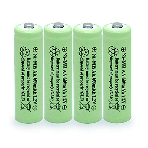 QBLPOWER Solar Light Batteries AA Ni-MH 600mAh 1.2V Rechargeable for Garden Lights Remotes Mice(4Pcs)