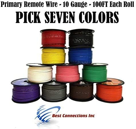 10 GA GAUGE 7 ROLLS 100 FT SPOOLS PRIMARY AUTO REMOTE POWER GROUND WIRE CABLE