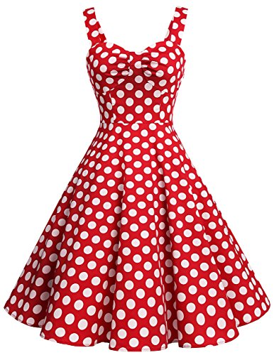 DRESSTELLS 1950s Retro Audrey Swing Pinup Rockabilly Dress Pleated Vintage Dress Red White Dot M (White Dot Dress)