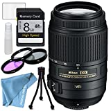 Nikon AF-S DX NIKKOR 55-300mm f/4.5-5.6G ED Vibration Reduction Zoom Lens with Auto Focus for plus free three piece filter kit , table top tripod , lens cleaning kit , screen protectors , 8gb sd card