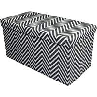 Sorbus Chevron Storage Ottoman Bench – Foldable/Collapsible with Lid Cover – Perfect Hassock, Foot Stool, Toy Storage…