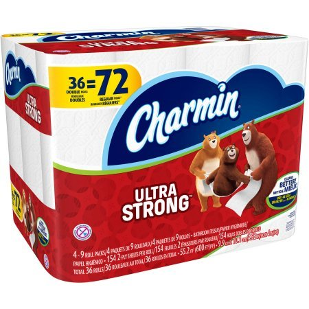 Price comparison product image Charmin Ultra Strong Toilet Paper Double Rolls,  154 sheets,  36 rolls 12.00 x 16.00 x 11.90 Inches
