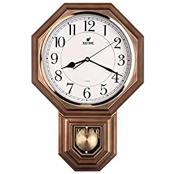 Hot Selling Traditional Schoolhouse Pendulum Wall Clock Chimes Every Hour With Westminster Melody Made in Taiwan, 4AA Batteries Included (PP0262-A Vintage Bronze)