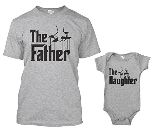 The Father/The Daughter Matching Bodysuit & Men's T-Shirt (Light Gray/Light Gray, X-Large/12 Months)
