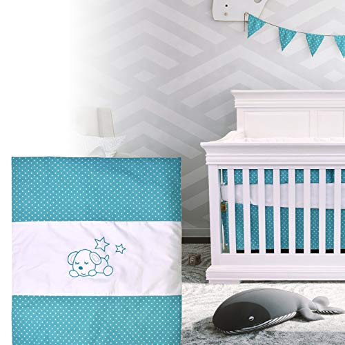 BOOBEYEH & DESIGN 5PCS Bedding for Baby -Sleeping Dog Pattern, Turquoise and White