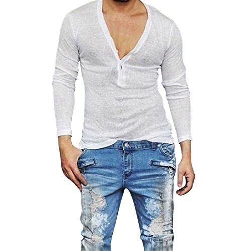 Sharemen Men's Slim Fit Deep V Neck Long Sleeve Casual T-shirt Top (White, (Mens Tunic Shirts)