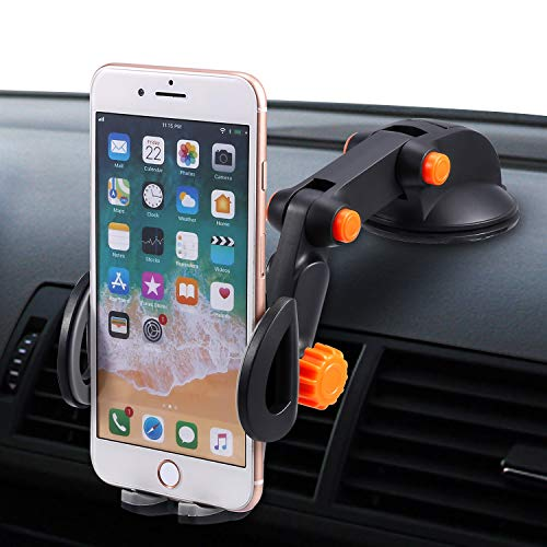 Car Phone Mount, Windshield Dashboard Cell Phone Holder with Strong Sticky Gel Pad Compatible with iPhone X/8/7/7Plus/6/6sP/5s/Samsung/Galaxy S9/S8/S7/S6/S5, Universal Smartphones