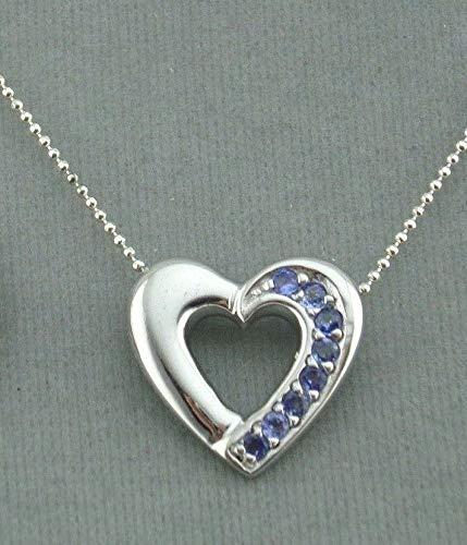 Heart Pendant Necklace For Women Silver Tanzanite Jewelry NEW Valentines ()