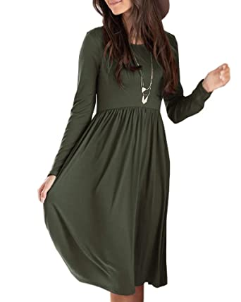 Foshow Womens Midi Dresses Fall Long Sleeve Casual Pleated Swing ... 13e826f0c6