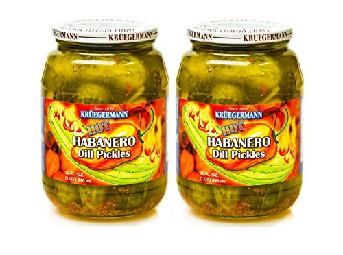 SHIPS FREE Get 2 (32 fl.oz.) Jars of Hot Habanero Dill Pickles (64 floz (Listed Free Ship)