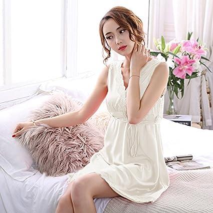 Wanglele Pijama Pijama Mujer Vestido Sueño De Verano E Invierno Mujer Señoras Fina Sección Lace Bata