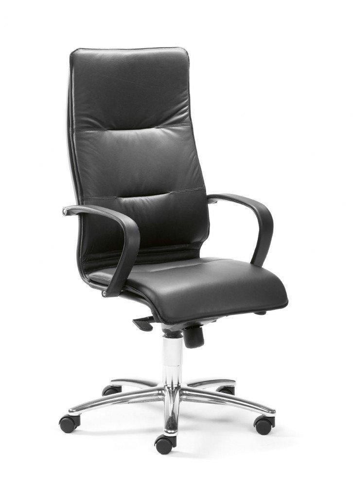 Mayer Sitzmöbel Chefsessel CITY LINE Echt Leder mit Synchronmechanik Rollen für harte Böden Bezug Echt Leder 81111