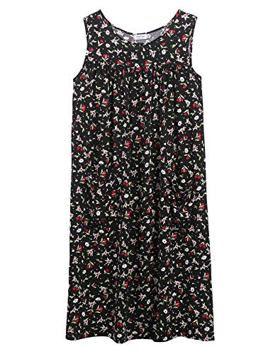 Sleeveless Shift Dress Sundress Floral Print House Dresses for Women with Pockets (XXL, Tulip Black)