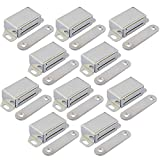 JQK Magnetic Cabinet Door Catch, Stainless Steel Closet Catches 10 Pack with Strong Magnetic, Furniture Latch 20 lbs, CC101-P10
