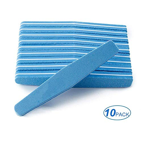 10Pcs Professional Washable Nail File Buffer 100/180 Polishing Grinding Manicure Pedicure Nail Buffers File Tools (Blue)