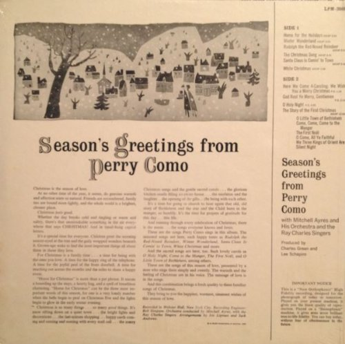 Season's Greetings from Perry Como by RCA Victor