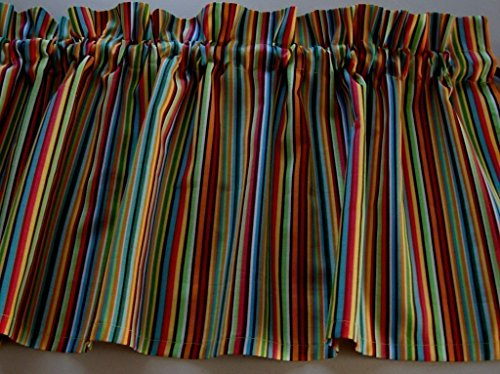 Multi-color Stripe Valance Curtain Window Treatment -