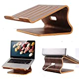 "Xtenzi Universal Desktop Shelf Wood stand Desk Display Holder for Apple Macbook Pro/Macbook air 15"" 13"" 11""(Walnut Brown)"