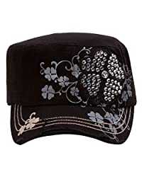 TopHeadwear Four Leaf Clover Distressed Cadet Cap - Black