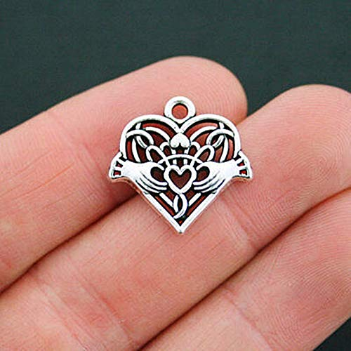 - 2 Celtic Heart Charms Antique Silver Tone Heart and Hands Claddagh for Pendant Bracelet DIY Jewelry Making