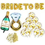Bachelorette Party Decorations Bridal Shower Kit - Diamond Ring and Bride To Be Foil Balloon,Champagne Bottle Foil Balloon,Ring Confetti, Large Confetti Gold Balloons(10 pcs)
