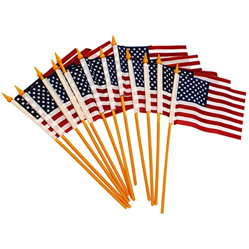 [American Flag - 12 Pack American Flags - July 4th Decorations - Party Favors by Funny Party Hats] (Usa Flag Dress Teen Costumes)