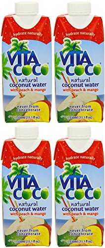 (4 PACK) - Vita Coco Coconut Water - Peach & Mango | 330 x 12ml x | 4 PACK - SUPER SAVER - SAVE MONEY by Marigold Vitacoco (Do Not Post